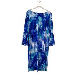Calvin Klein Brush Stroke Dress with Bell Sleeves